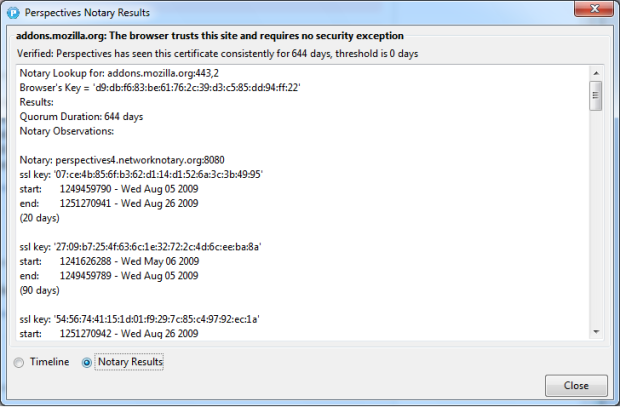 A screenshot showing notary query results - with a larger text window