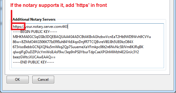 Screenshot of the Perspectives preferences dialog, with 'https://' added in front of a notary URL